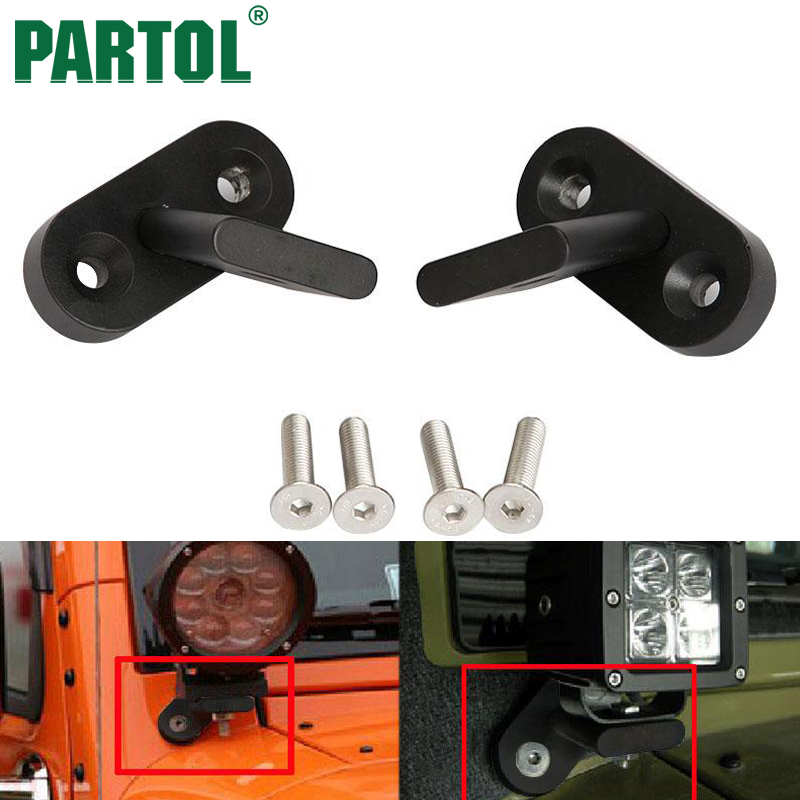 Partol High Strength Bumper Holder Spotlight Bracket LED Work Light Bar Driving Lamp Holder 4x4 For Jeep Wrangler JK 2007-2017 windshield pillar mount grab handles for jeep wrangler jk and jku unlimited solid mount grab textured steel bar front fits jeep