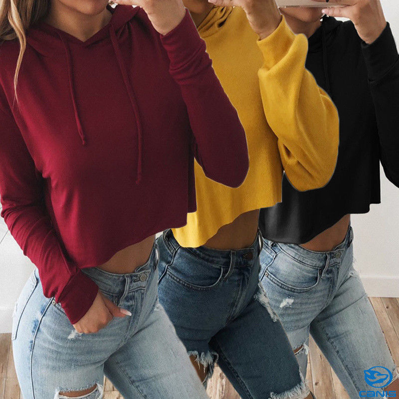 NEW STYLE FASHION 2019 Ladies Crop Hoodie Women Pull Over Plain Casual Short Hooded Sweat Shirt Top Hot SALE Female