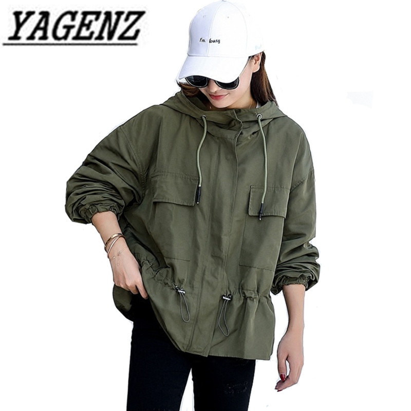 2018 Spring Women's Hooded windbreaker Short Coat Long-sleeved Loose Korean Solid Student Outerwear Casual Female   Trench   Coats