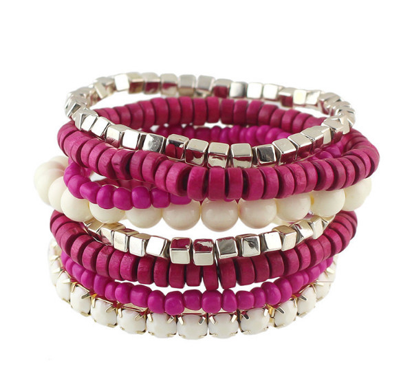 10pc/lot free ship B53-071 fashion girls handmade bohemian style beaded 8pc together stackable stretch bracelets