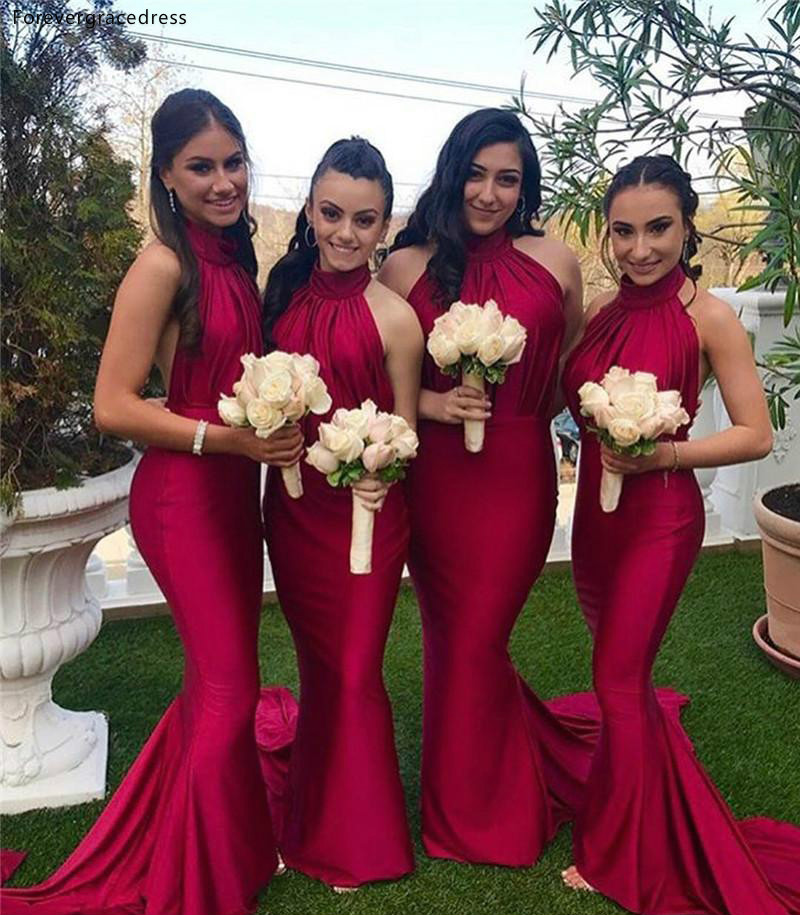Red Long   Bridesmaid     Dresses   2019 Cheap Halter Neck Summer Country Garden Wedding Party Guest Maid of Honor Gowns Plus Size