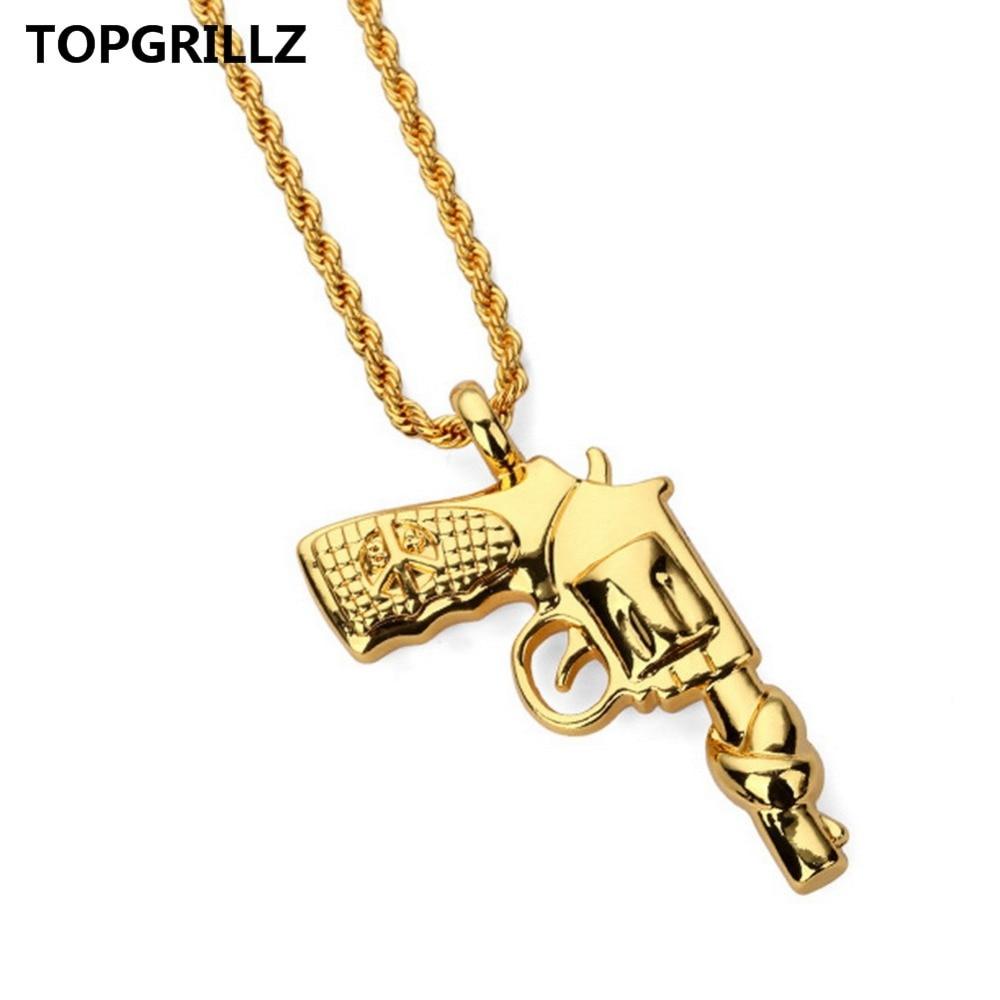 Topgrillz хип-хоп мира пистолет Цепочки и ожерелья статью качество Толстые золотое покрытие Для мужчин и Для женщин к Фостер Цепи