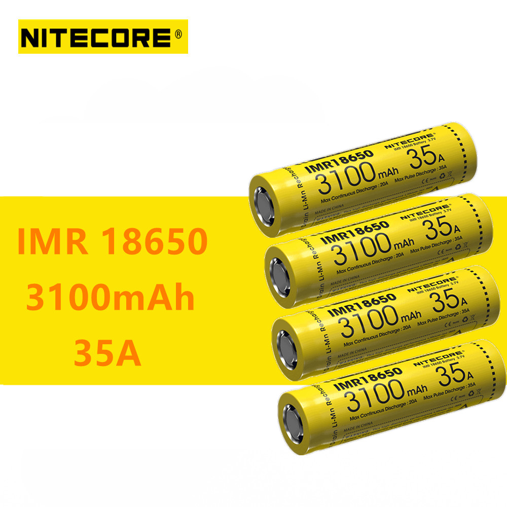 4pcs original Nitecore IMR18650 IMR 18650 battery 3100mAh 35A batteries High Drain Rechargeable Battery for flashlight