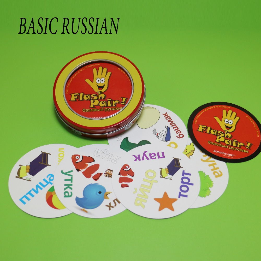2018 Flash Pair Basic Russian Spot With Metal Box Card Game For Kids Learning Russian Words Family Enjoy It Board Game