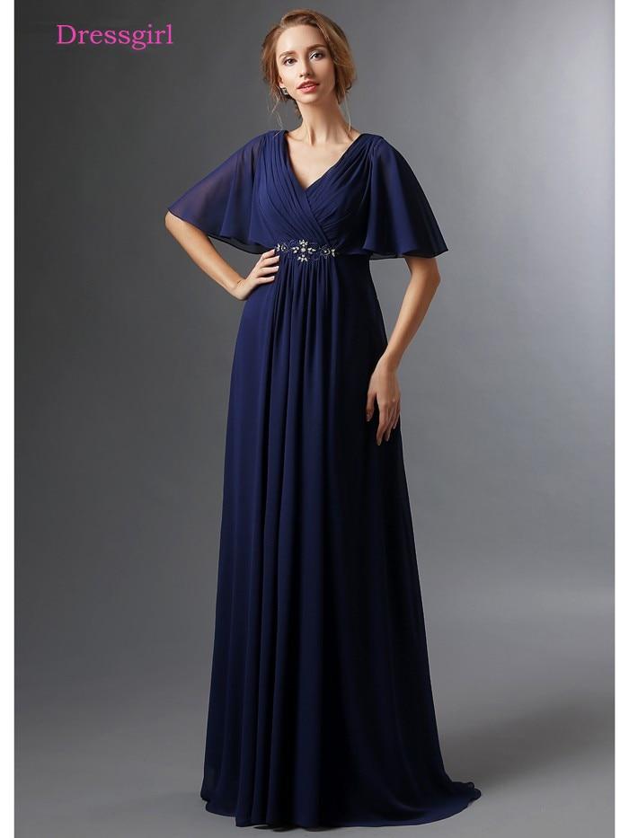 dark blue 2019 mother of the bride dresses a line v neck