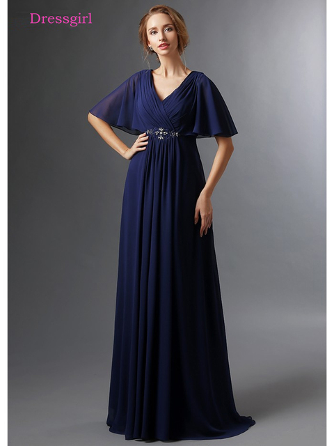 Dark Blue 2019 Mother Of The Bride Dresses A-line V-neck Half Sleeves Chiffon Beaded Long Elegant Groom Mother Dresses Wedding