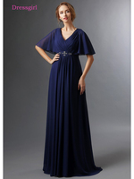 Dark Blue 2018 Mother Of The Bride Dresses A Line V Neck Half Sleeves Chiffon Beaded