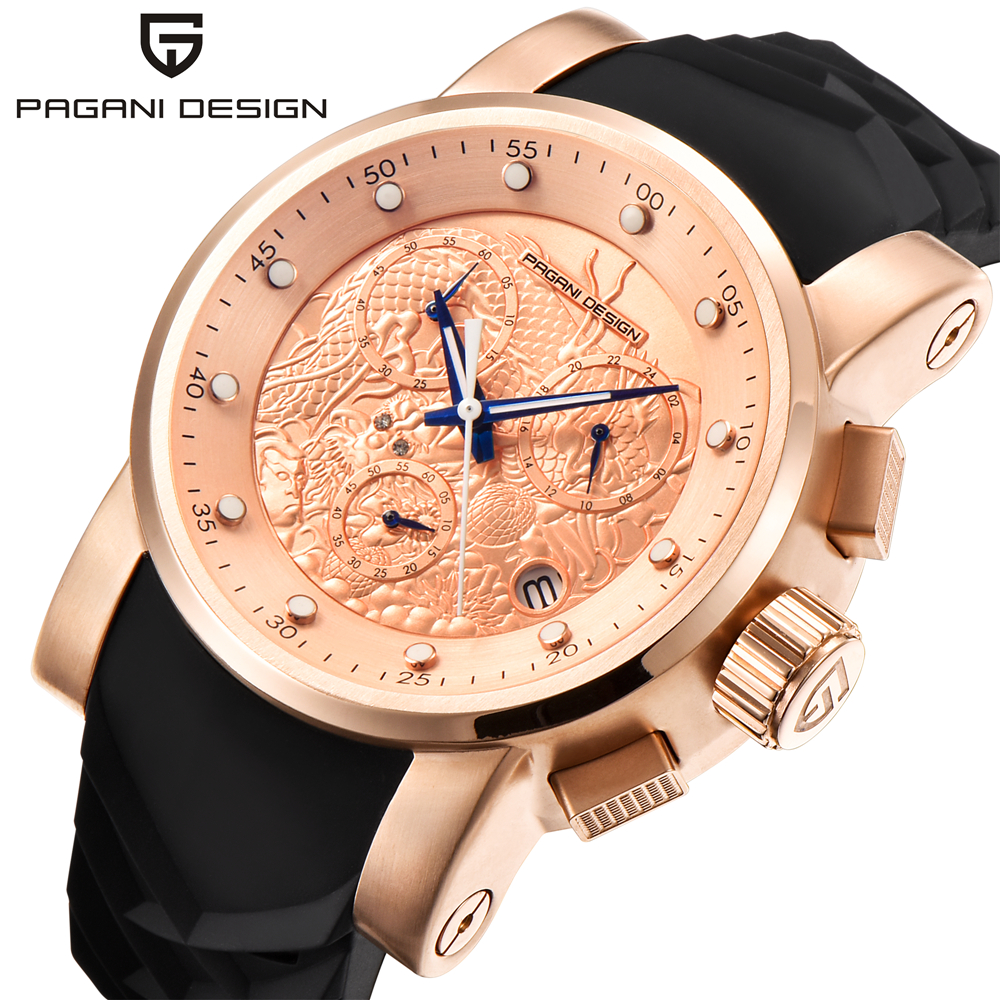 PAGANI DESIGN New Luxury Brand Watches Chinese Dragon Calendar Waterproof Silicone Quartz Rose Gold Watch Men