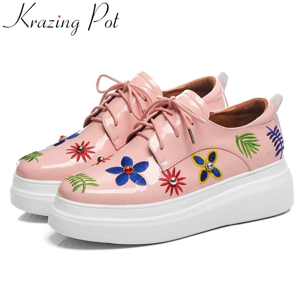 Krazing Pot colofrul flowers embroidery young girls genuine leather crystals lace up sneakers British style vulcanized
