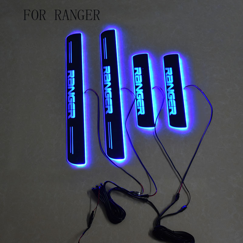 Car-styling accessories LED Door Sill Scuff Plate Welcome Pedal fit for FORD RANGER 2012-2017 T6 T7 XLT car styling welcome pedal led door sill for ford kuga 2013 2014 2015 led moving door scuff plate lighthts front 2pcs accessories