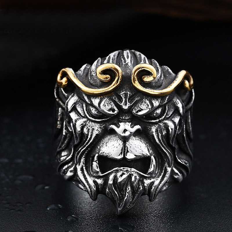 Punk Style Stainless Steel Monkey King Men Finger Rings Male Punk Retro Jewelry Gold Silver Color Drop Shipping