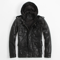 FREE SHIPPING 2016 New Men Long Hooded Leather Jacket Black Stand Collar Genuine Sheepskin Slim Fit