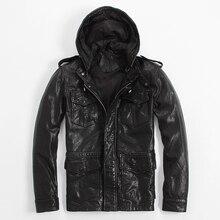 2017 г. мужские длинные кожаная куртка с капюшоном Черный цвет; Большие размеры XXXL Мужчины зима Slim Fit повседневные кожаные пальто фабрики Бесплатная доставка