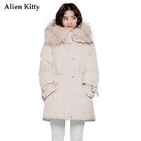 Alien Kitty Casual Fur Collar Hooded Winter Down Jacket Women 2017 Solid Color Long Sleeve Women