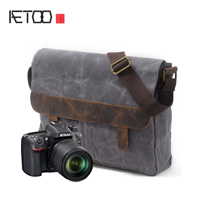 AETOO New men's bag casual shoulder bag oil wax canvas with crazy horse leather bag waterproof Messenger retro camera bag aetoo europe and the united states fashion shoulder bag oil wax canvas with crazy horse bag waterproof messenger bag men and wom