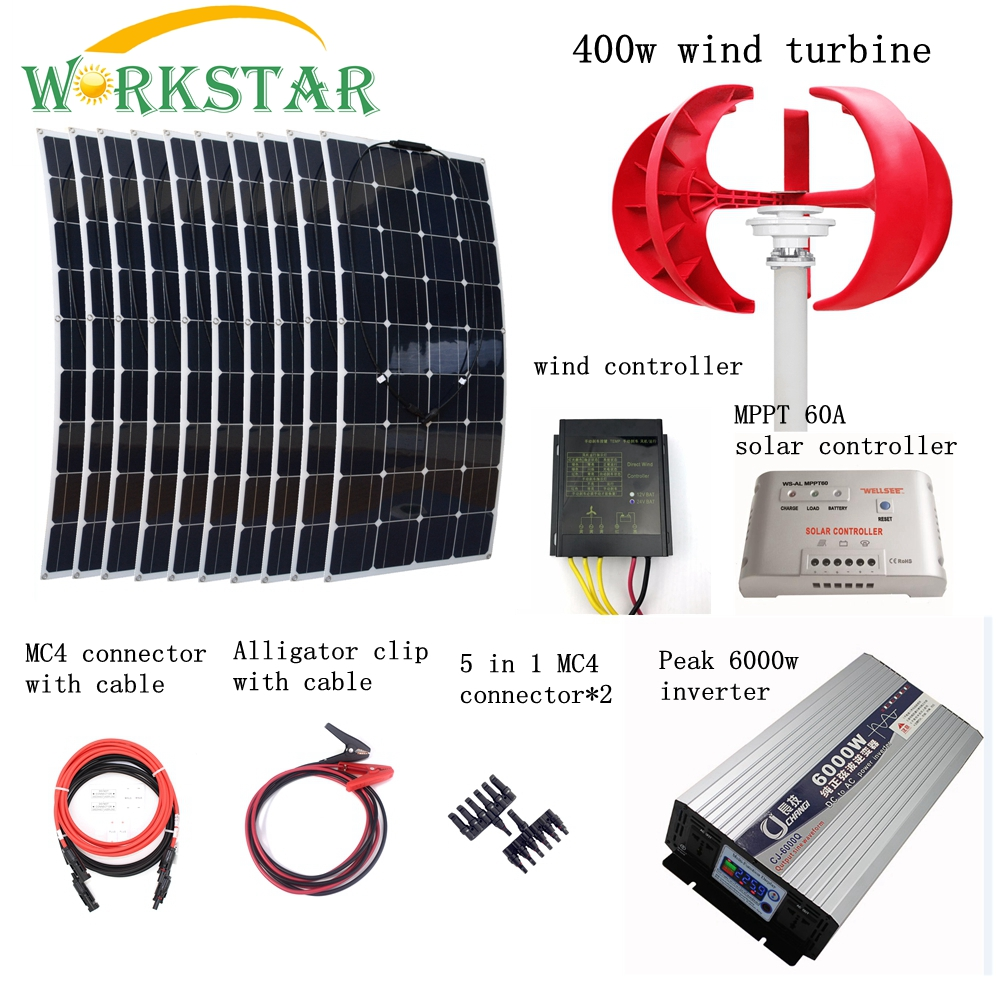 10 pcs 100 W Solare Flessibile Moduli + 400 W Generatore di Vento Verticale con 6000 W Inverter e Controller 1400 W Vento Solare Sistema di Alimentazione