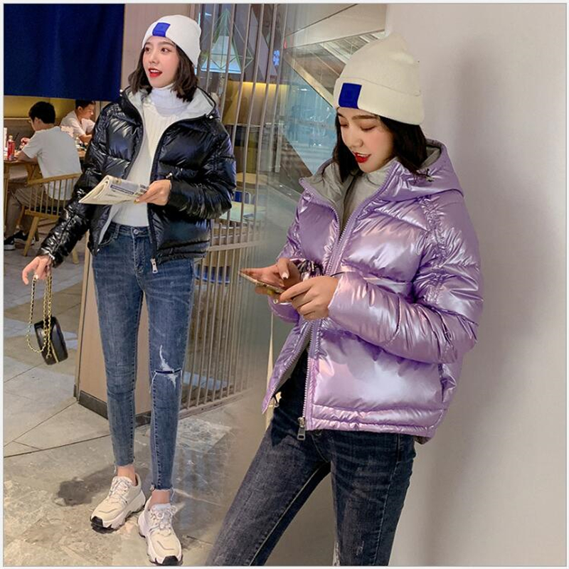 New   Parkas   Female Women Winter jacket The glossy female 2019 winter coat Cotton padded jacket students bread coat 240