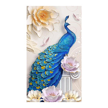 Blue Peacock Diamond Painting animal Embossed flower Round Full Drill 5D Nouveaute DIY Mosaic Embroidery Cross Stitch home decor цена 2017
