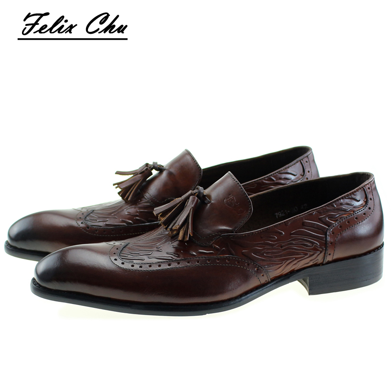 FELIX CHU 2017 Autumn New Genuine Leather Slip On Men's Wedding Dress Shoes Formal Party Man Brown Loafer With Tassel #E7921-20