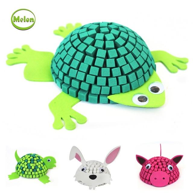 MELON 3D EVA  Mosaic animal Stickers Puzzle DIY stereo puzzle hand-made toys New Kids Toys Puzzles Education Wooden Toys