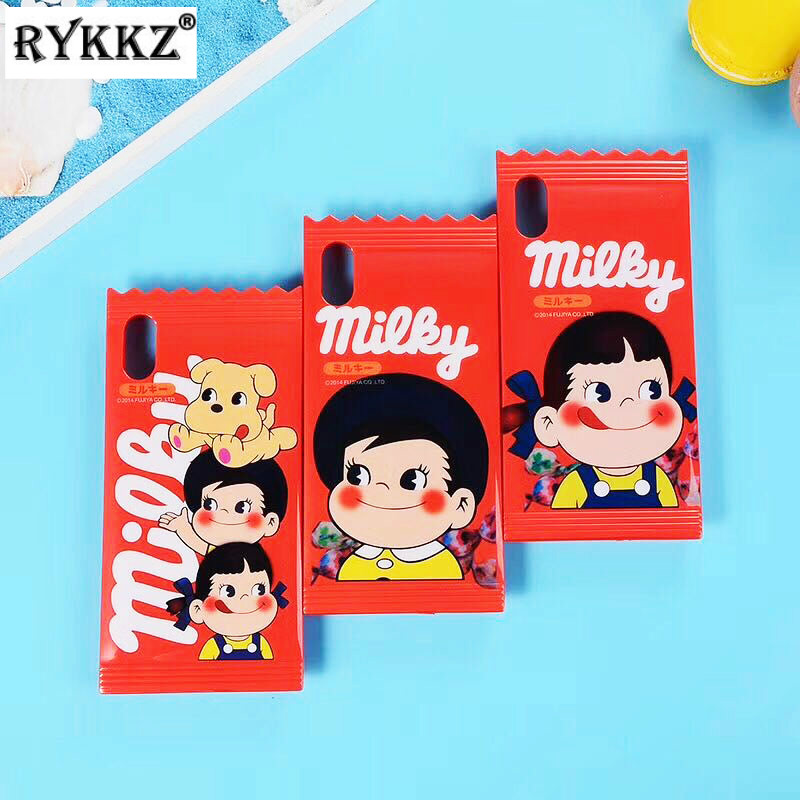 Sweet Peko Milky Boy Girl Phone Case For IPhone X IMD Soft TPU Back Cover Case For IPhone 6 6S Plus 7 7 Plus 8 8 Plus Candy Capa