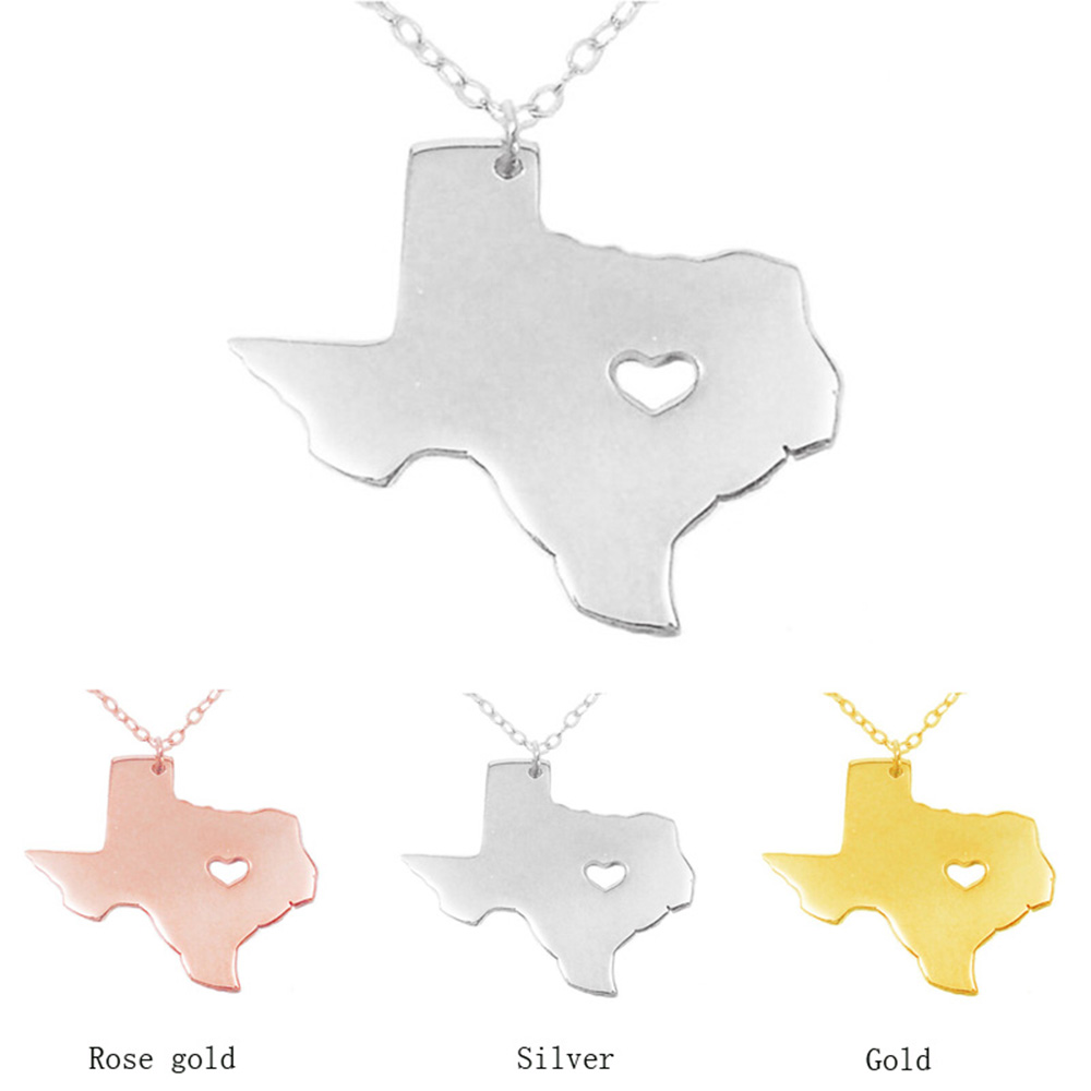 SUTEYI 1PCS Texas Map Necklace With Heart USA State Necklaces I Heart Love Texas Necklaces Map Geography Pendant