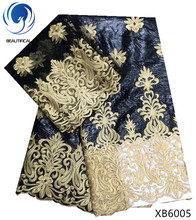 BEAUTIFICAL Black Bazin lace fabric Gold embroidery 2018 New arrival african bazin riche getzner for big occaison 7yards XB60