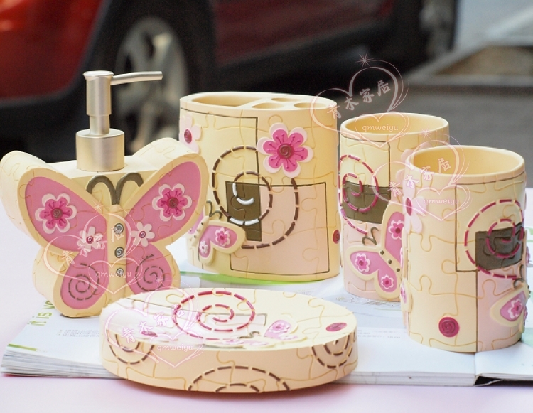 Aliexpress com   Buy Free shipping butterfly series bathroom set girl s  birthday gift bathroom kit bathroom accessories HDM 5 from Reliable  accessories. Aliexpress com   Buy Free shipping butterfly series bathroom set