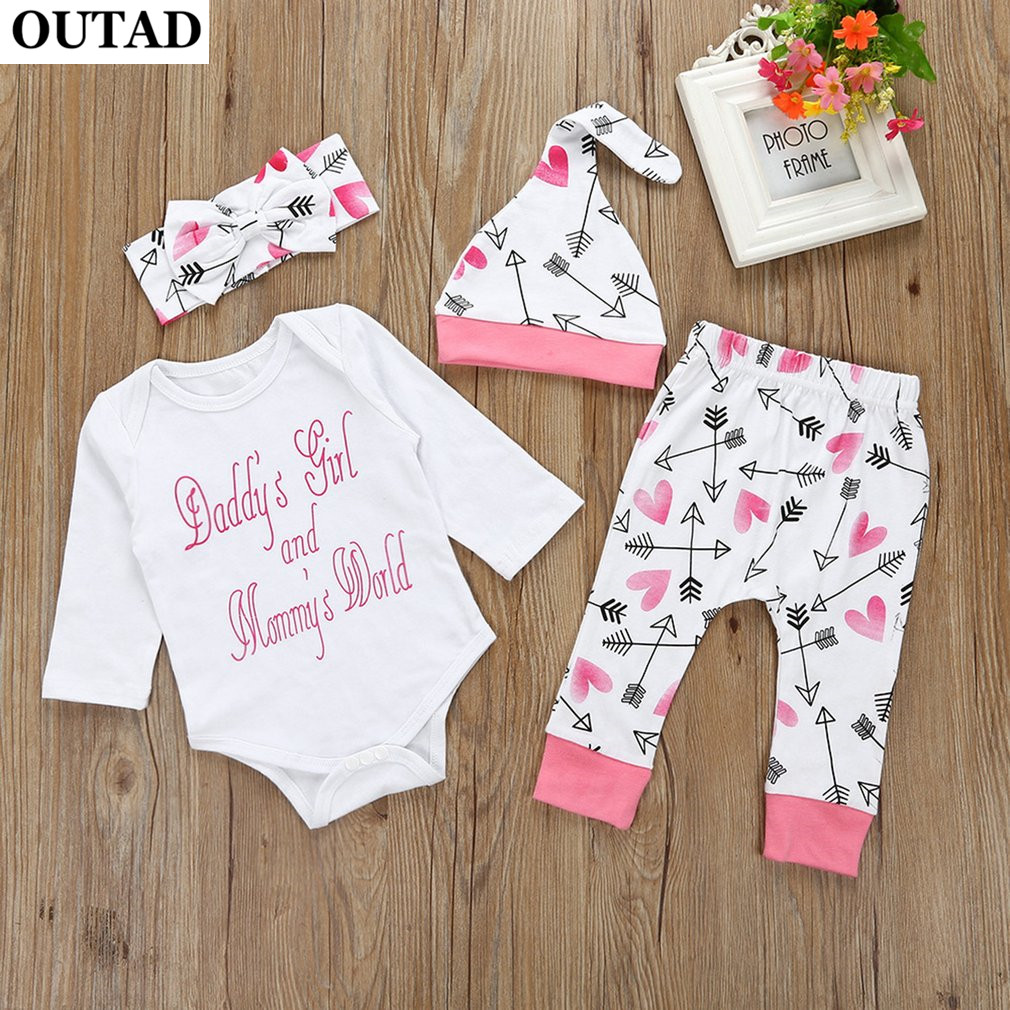OUTAD 4pcs Baby Girls Jumpsuit Pants Boy Outfit Love Printed Clothes Long Sleeve Romper Bodysuit Hat Headband Set Newborn Infant