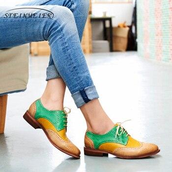 Yinzo/женские туфли-оксфорды на плоской подошве, женские кроссовки из натуральной кожи, женские броги, винтажная повседневная обувь, женская о...