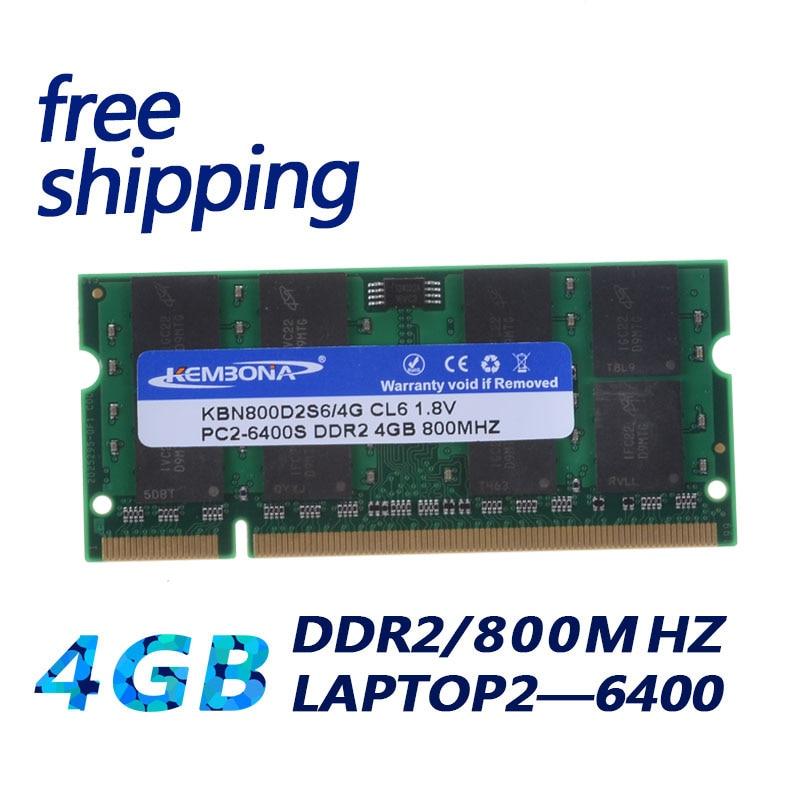 KEMBONA SODIMM ORDINATEUR PORTABLE DDR2 4 GB 4G 800 MHZ PC2-6400 RAM MÉMOIRE PORTABLE 200PIN MODULE
