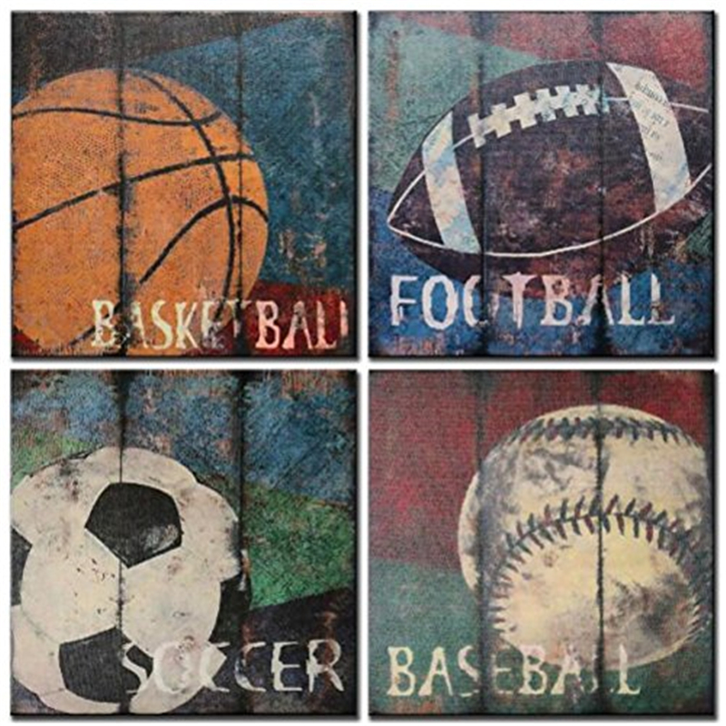 Basketball Sports Canvas Wall Art For Boys Bedroom Decor: Basketball Soccer Football Sports Themed Canvas Wall Art