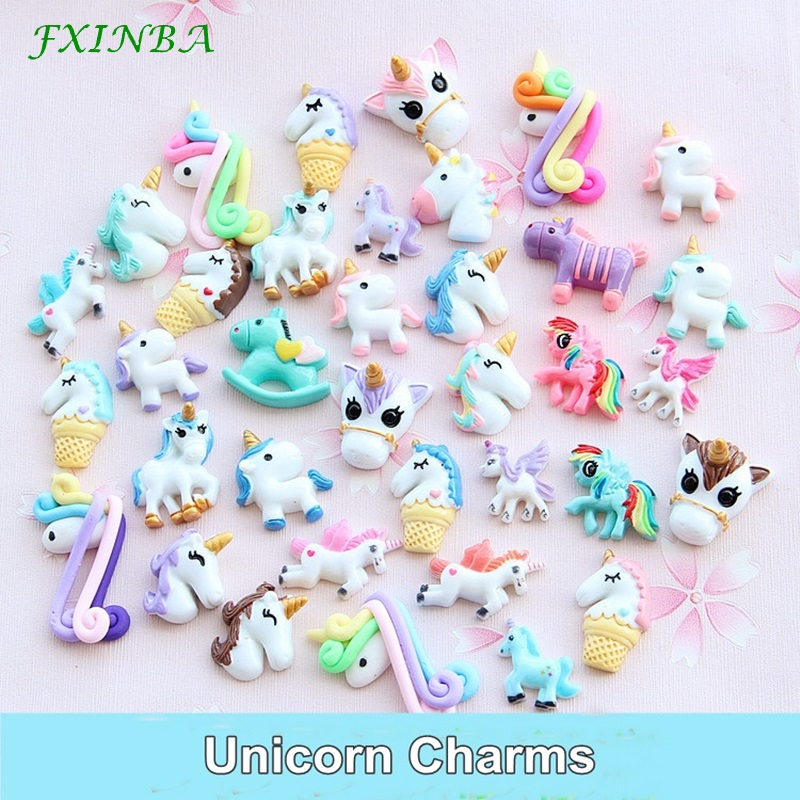 FXINBA 1/3/5/10pcs Unicorn Charms For Slime Filler DIY Ornament Phone Decoration Resin Lizun Mud Clay Supplies Toys