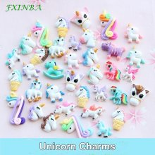 FXINBA 1/3/5/10pcs Unicorn Charms For Slime Filler DIY Ornament Phone Decoration Resin Charms Lizun Mud Clay Slime Supplies Toys(China)