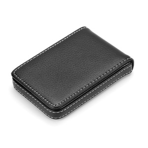 Wholesale New Pu Leather Card Holder Men's Business Card Holder Portable ID Card Case For Women Metal Credit Card Holder