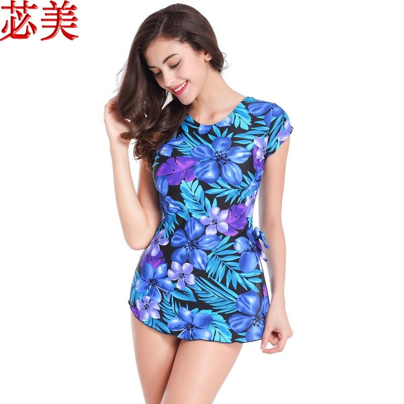 518Pocketed Swimwear Mastectomy Swimsuit Blue