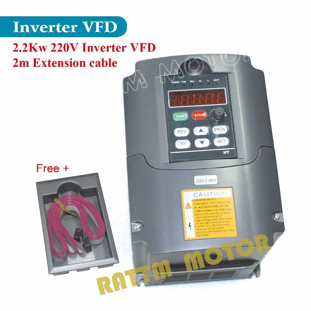 UE/USA/RU Livraison! 2.2KW 220 v 3HP Fréquence Variable VFD Onduleur Sortie 3 phase 400 hz 10A & Extension câble/panneau de contrôle boîte