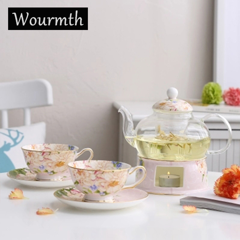 Wourmth Français Européenne fleur théière ensemble fruits thé bougie thé Britannique après-midi thé épaissie résistant à la chaleur fleur en verre teapo