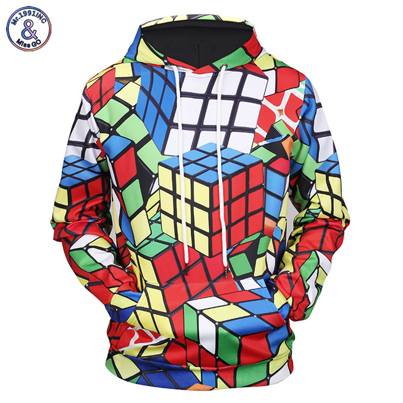 Geek Rubiks Cube Maze 3d Print Men Hoodie Gift Casual Cotton Coat Sweatshirt Boyfriends Cool Geometric Tops Streetwear Hoodies & Sweatshirts
