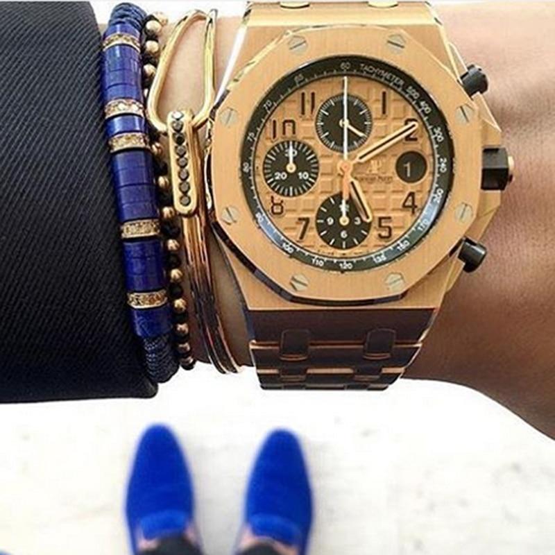 Nuevo conjunto de pulsera de reloj para hombre, pulsera de piedra azul y pulsera de macramé y pulseras de cuerda de Color oro puro para hombres Pulseira femenina-in Pulseras de tira from Joyería y accesorios    1