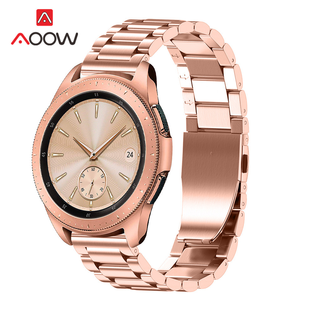 3 Pointer Stainless Steel Watchband 18mm 20mm 22mm For Samsung Galaxy Watch 42mm 46mm SM-R800 SM-R810 Rose Gold Metal Strap Band
