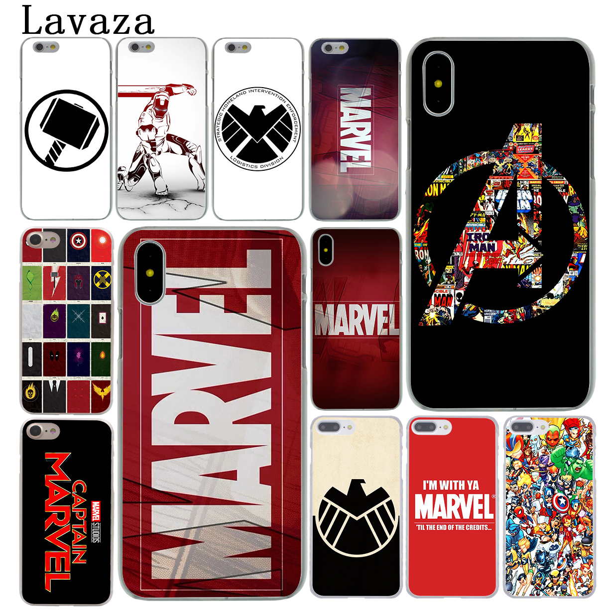 Luxury Marvel Comics logo Hard White Cover Case for iPhone 7 7 Plus 6 6S Plus 5 5S SE 4 4S marvel glass iphone case