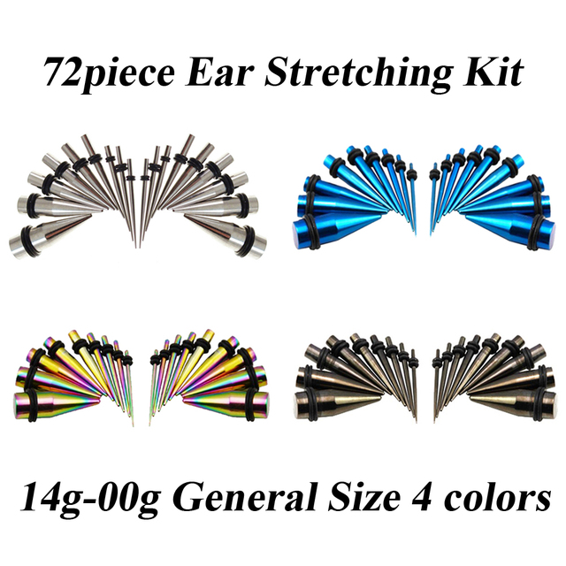 72pieces Straight Ear Taper Stretching Kit Earring Gauge Expander