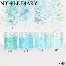 10 ml/Box Glitter Powder Consejos Luz Azul Ultra-delgado y 1mm Polvo Mezclado Nail Decoration 8306549