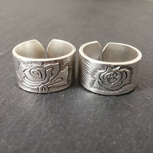 Image 2 - Bastiee peônia flor 999 prata esterlina casal anéis de noivado feminino anel de casamento do vintage jóias de luxo étnica moda