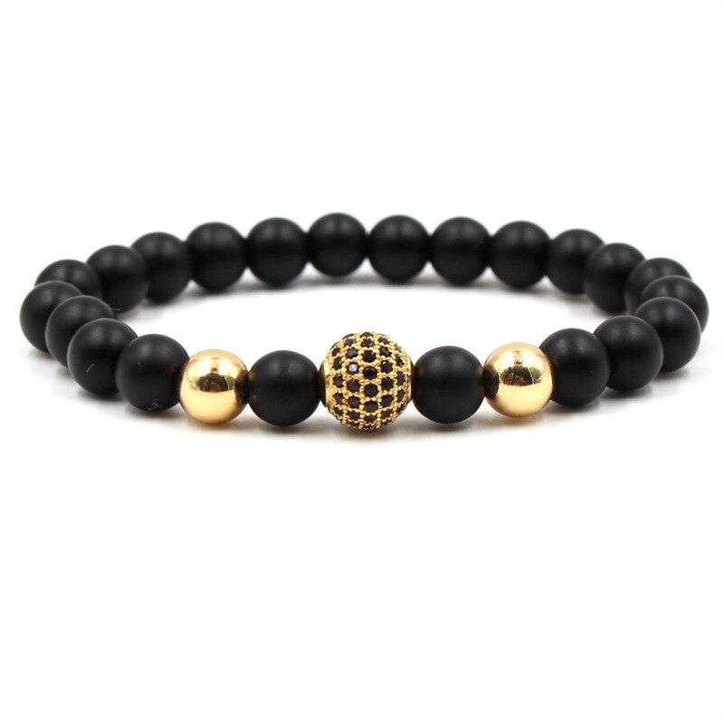 Vintage Jewelry Micro Pave CZ Beads Bracelets Bangles Black Lava Beaded Bracelet For Women Men pulsera DropShipping