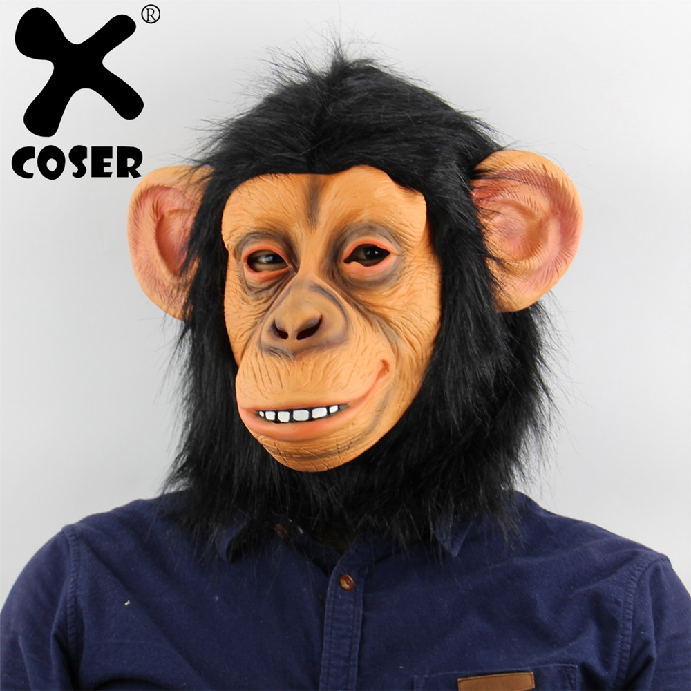 XCOSER Clearance Sale Funny Monkey Head Latex Mask Full Face Adult Breathable Halloween Masquerade Carnival Party Cosplay Prop
