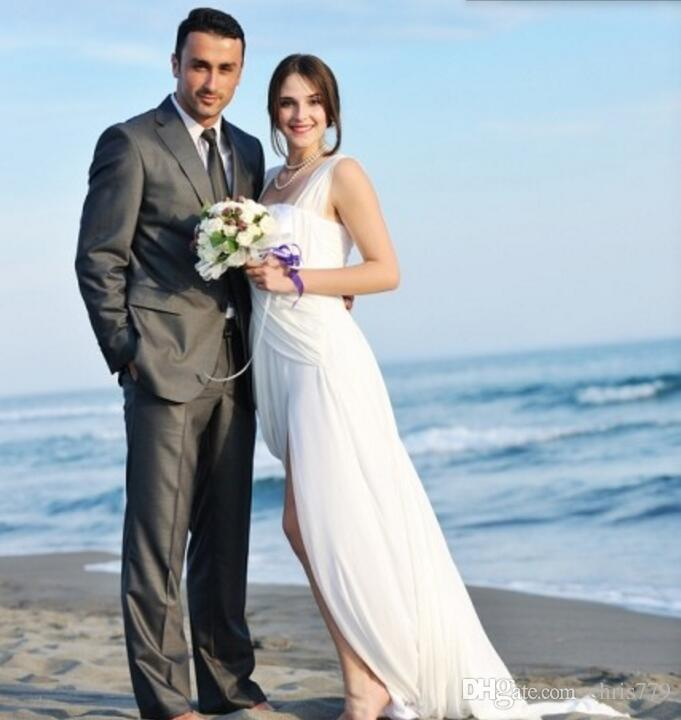 Custom Made Gray Men Suits Beach Wedding Tuxedos Slim Fit Two Button ...