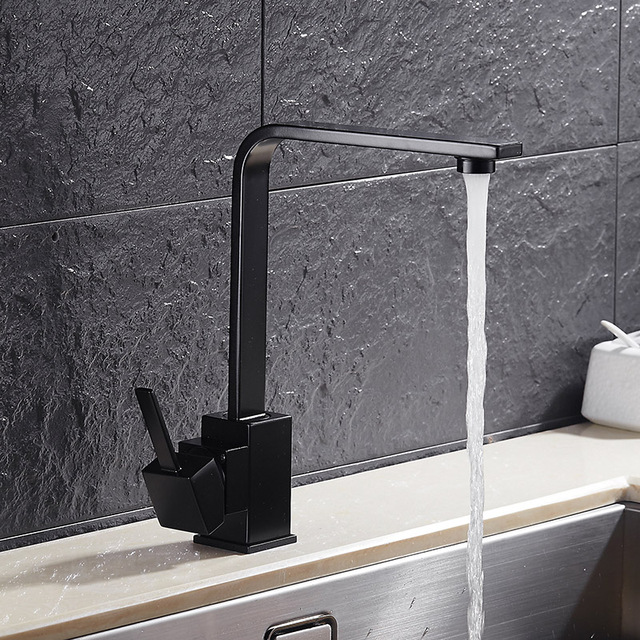 360 Degree Rotatable Square Modern Kitchen Sink Faucet Black White