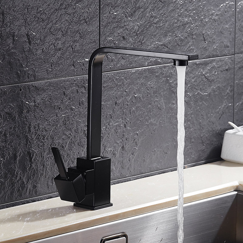 360 Degree Rotatable Square Modern Kitchen Sink Faucet Black White Basin Sink Mixer Hot And Cold